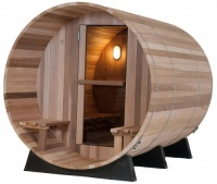 4 Person Cedar Barrel Sauna with Canopy