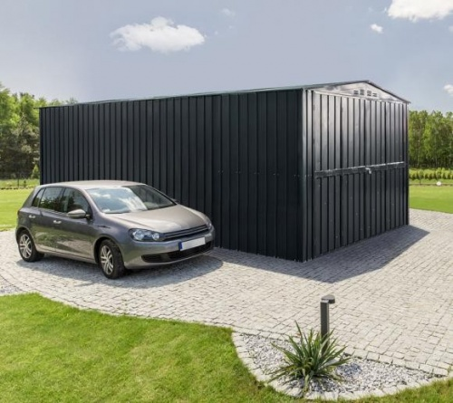 Lotus 10x15 Metal Double Hinged Metal Garage -Anthracite Grey (Returning Late 2018)