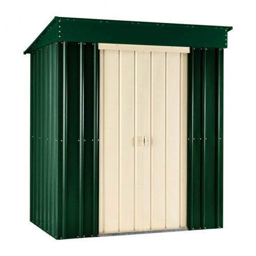 Lotus 6x3 Pent Metal Shed - Heritage Green / Cream