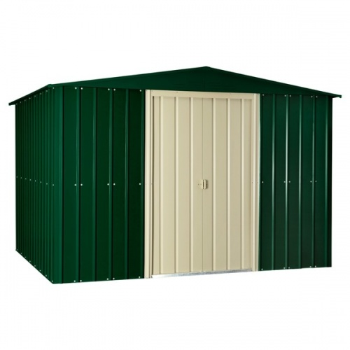 Lotus 10x10 Apex Metal Shed - Heritage Green / Cream